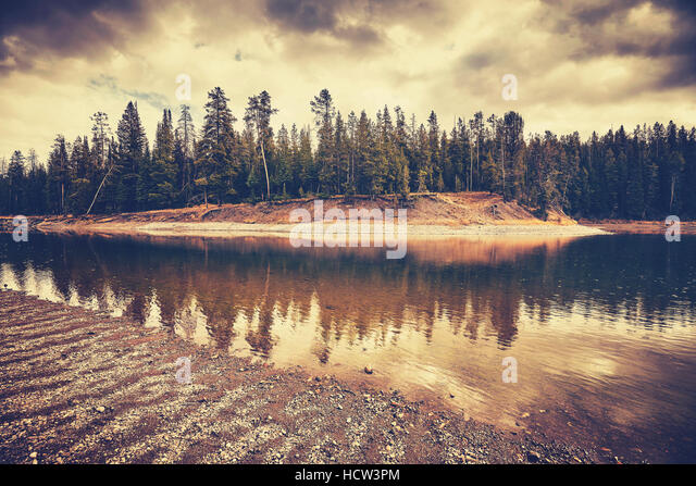 Vintage toned mysterious landscape on rainy day in Grand Teton National Park, Wyoming, USA. - Stock Image