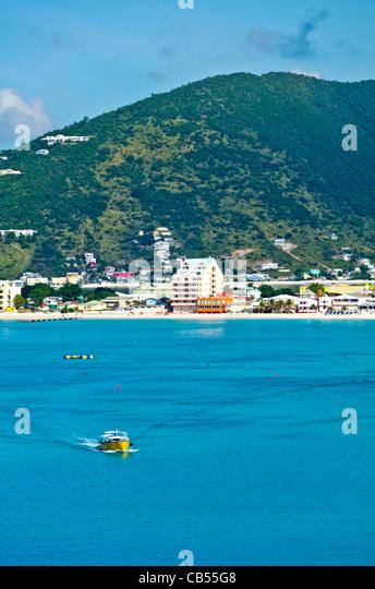 St Maarten Philipsburg city coastal scenic taken from the harbor - Stock Image