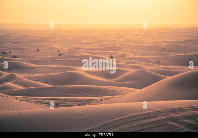 View of sand dunes at sunset - Stock Image