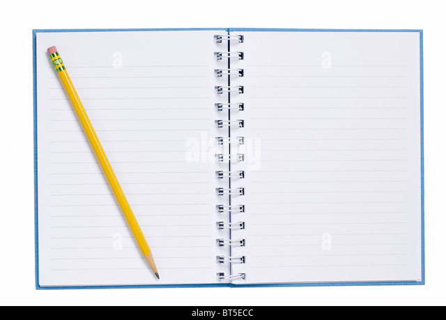 Open Hard Cover Book with pencil paper - Stock Image