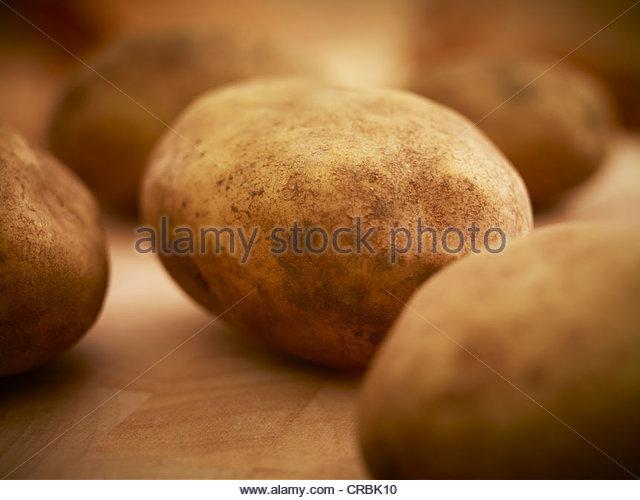 Close up of organic potatoes - Stock Image