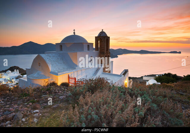 Church above Plaka village, Milos island, Greece. - Stock Image