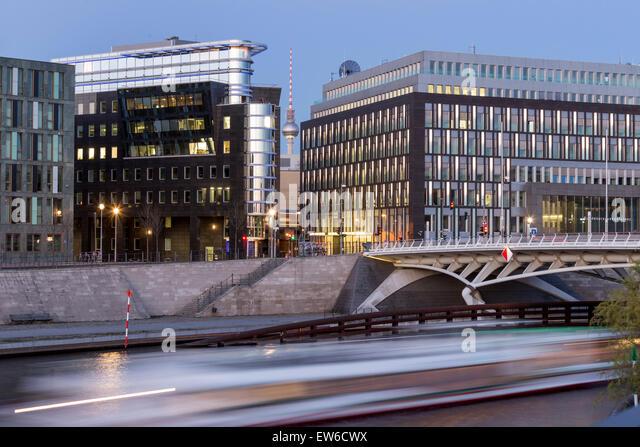 Kronprinzen Bridge, Modern architecture, Calatrava bridge, Berlin , Germany - Stock Image