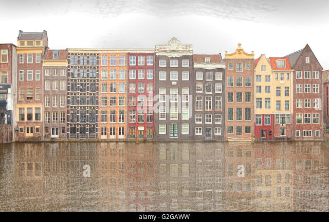 Amsterdam architecture, view from the Damrak looking East, The dancing canal or grachtenhuizen, filter image derivation - Stock-Bilder