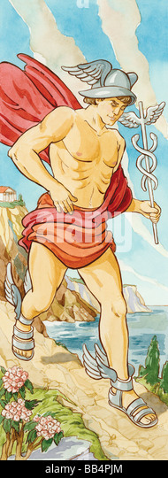 Hermes was messenger to the gods of ancient Greece, often sent on errands for Zeus. Roman mythology associated him - Stock Image