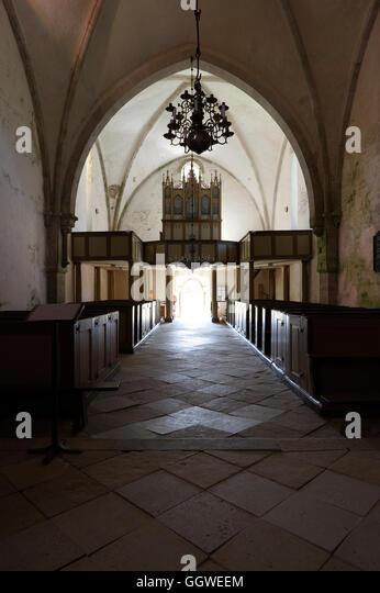 Karja Church is a medieval Lutheran church located in Linnaka village on Saaremaa island, Estonia. - Stock Image