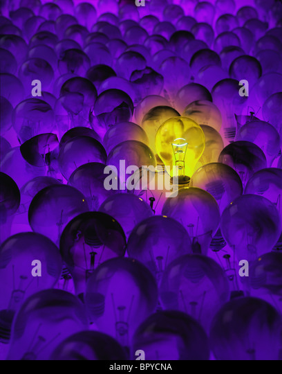 bright yellow incandescent light bulb in field of  burnt out light bulbs - Stock Image