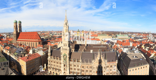 Munich, Gothic City Hall and Frauenkirche at Marienplatz, Bavaria, Germany - Stock Image