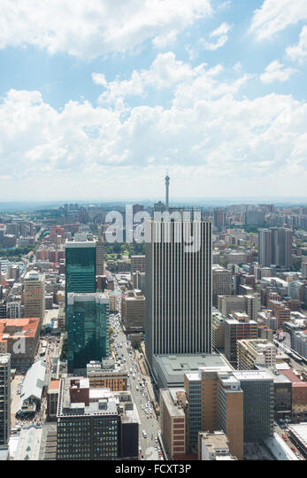 City CBD view from Carlton Centre, Johannesburg, City of Johannesburg Municipality, Gauteng Province, Republic of - Stock Image