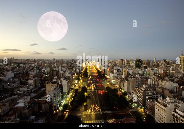 South America Argentina Buenos Aires av 9 de Julio - Stock Image