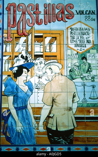 Spain Cadiz old fashion Advertisment for drugstore azulejos - Stock Image