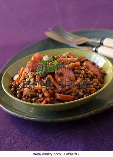 Lentils with sausage from Auvergne - Stock Image