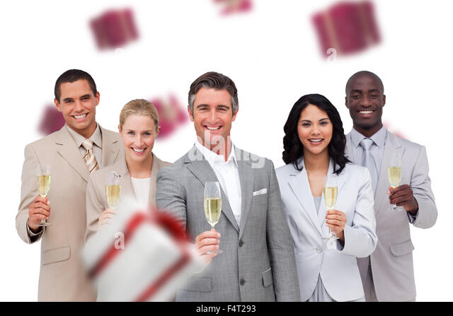 Composite image of business team celebrating a success with champagne - Stock Image