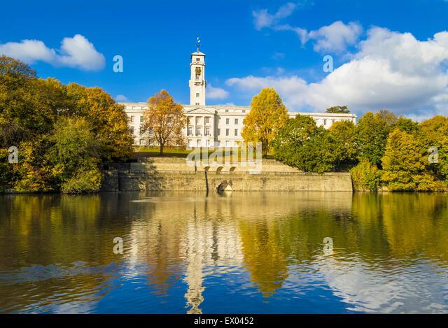 Trent Building and Highfields lake Nottingham University Park Nottingham Nottinghamshire England UK GB EU Europe - Stock Image