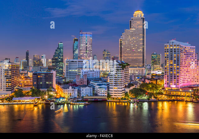 Bangkok, Thailand skyline on the Chao Phraya River. - Stock Image