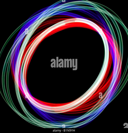 Abstract physiogram light image using three different colour filters - Stock Image