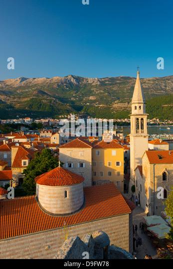 Church of the Holy Trinity on left, and Sveti Ivan (Church of St. John), Old Town (Stari Grad), Budva, Montenegro - Stock Image