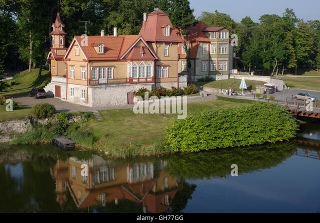 Nobleman's house in the park around the fortress, Lossi, Kuressaare. Estonia, Baltic States - Stock Image