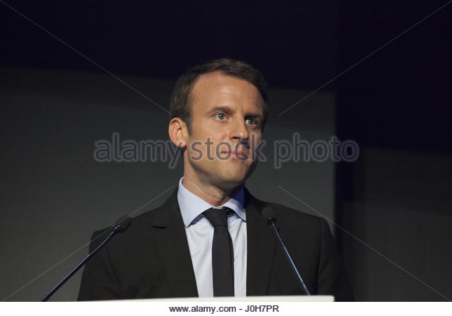 Paris, France. 13th Apr, 2017. French presidential election candidate for the En Marche ! movement, Emmanuel Macron - Stock Image