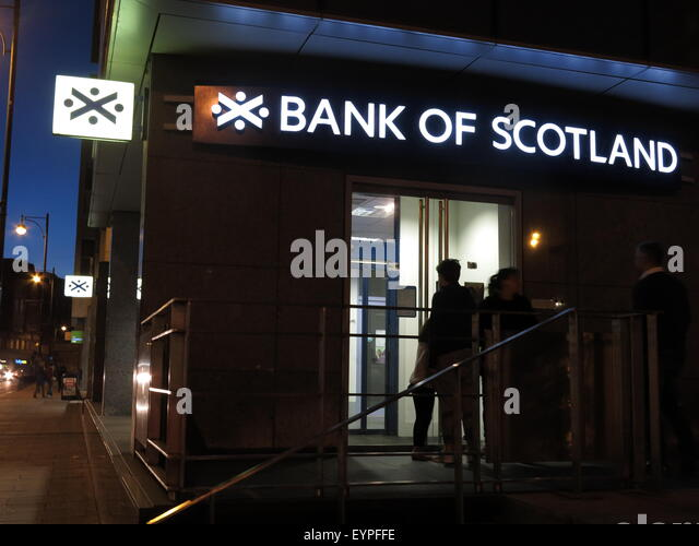 Bank of Scotland branch at night, with few lights on,Edinburgh,Scotland,UK - Stock Image