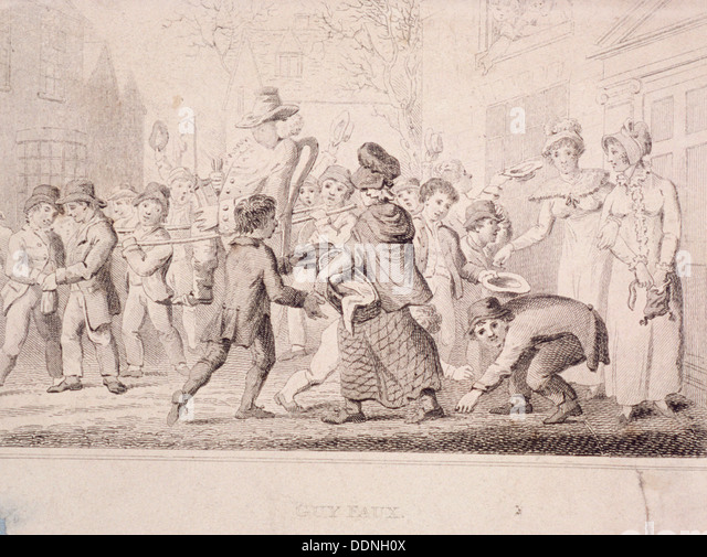 Children collecting pennies for the Guy, 1816. Artist: Anon - Stock Image
