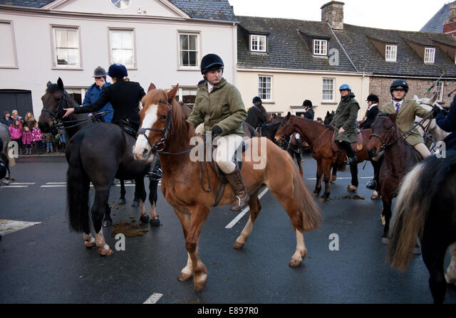 Young rider at Hay on Wye hunt meet Boxing day - Stock Image