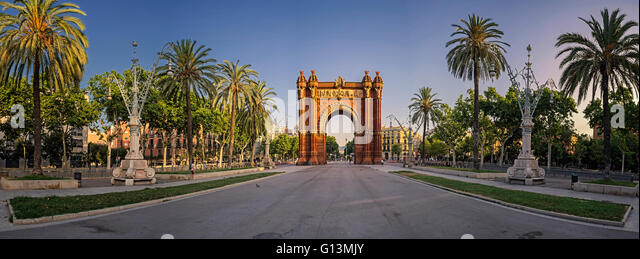 Panoramic view of Arc de Triomf, Barcelona, Spain - Stock Image