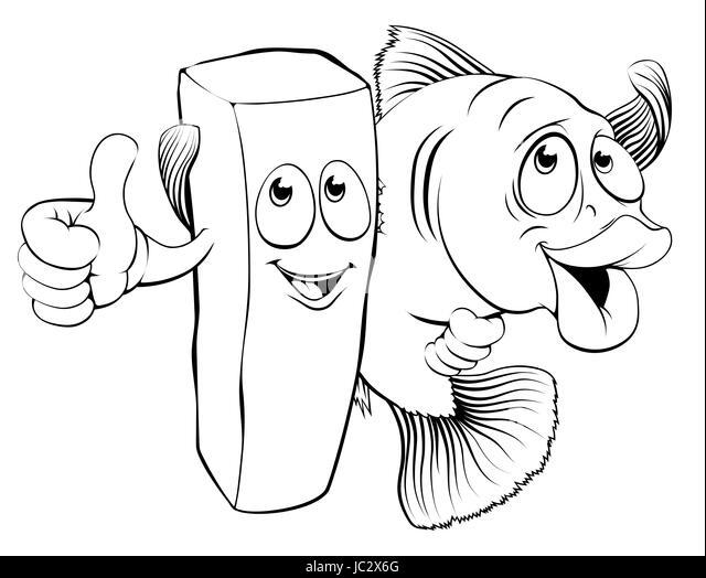 Fish N Chips Cartoon Characters : Black white drawing sea bass stock photos