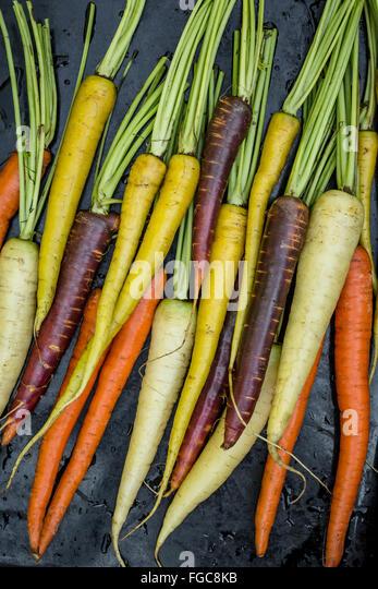 Rainbow carrots on black background - Stock Image