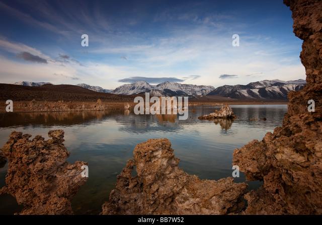 Moody shot of Mono Lake near Lee Vining in California USA - Stock Image