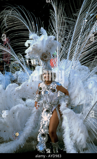 St Maarten Carnival Woman white feather costume - Stock Image