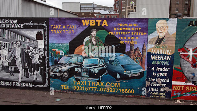 Belfast Falls Rd Republican Mural Martin Meehan,take a taxi tour WBTA - Stock Image