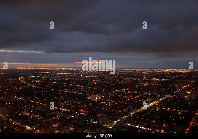 View over city at night - Stock-Bilder