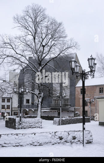 The area of the old street lights in the Old Town of Riga in the winter in the snow - Stock Image