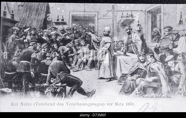 Drawing by Hermann Junker of Kol Nidre service near Metz for Jewish soldiers during the Franco-German War - Stock Image