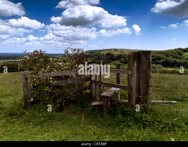 View from Wolstonbury Hill, South Downs National Park, Sussex, towards Jack and Jill windmills - Stock Image
