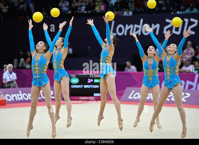 09.08.2012. London, England.  Gymnastics Rhythmic   Wembley  Arena .Team GB Group - Stock Image