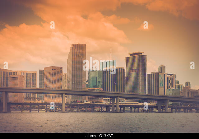 Miami Florida skyline with vintage retro tone - Stock Image
