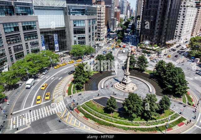 Manhattan New York City NYC NY Columbus Circle aerial traffic circle statue of Christopher Columbus Gaetano Russo - Stock Image