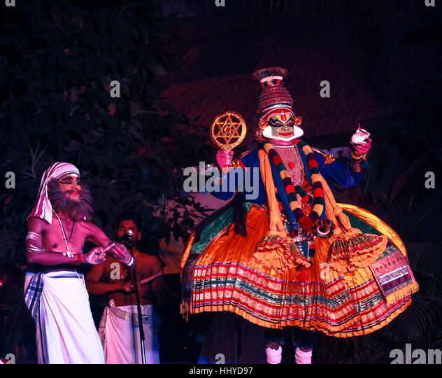 kathakali artist backstage - Stock Image