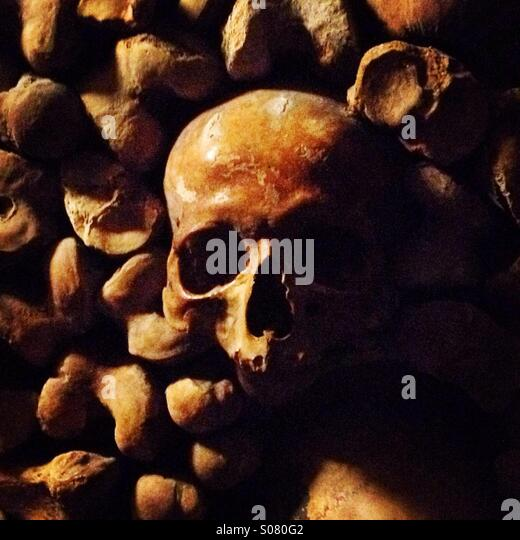 Skull and bones, empty eyes in the Paris Catacombes - Stock Image