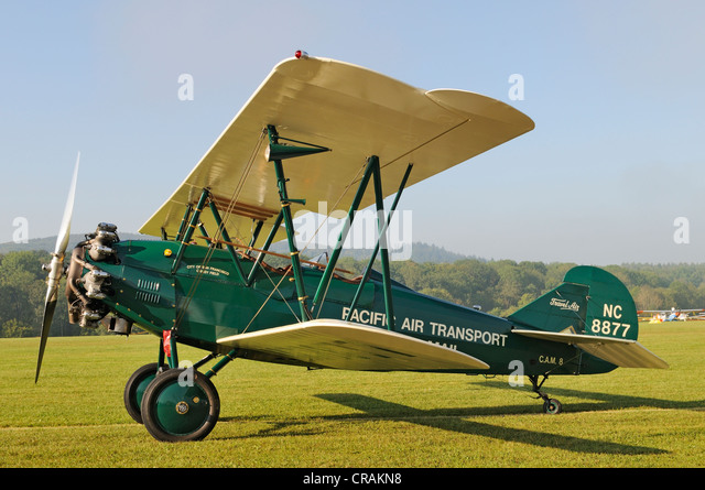 US-American biplane Curtiss Wright Travel Air 4000, Europe's largest meeting of vintage aircraft at Hahnweide, - Stock-Bilder