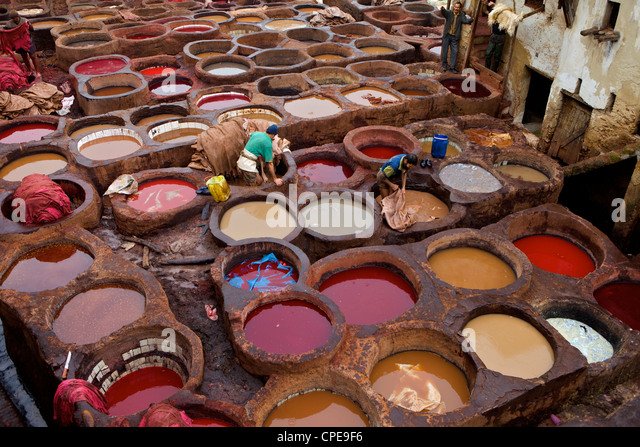 Men at work in the Tanneries, Medina, Fez, Morocco, North Africa, Africa - Stock Image