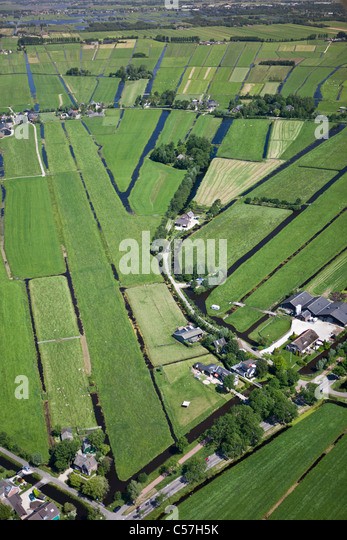 The Netherlands, Woerden, Farming land in polder. Aerial. - Stock Image
