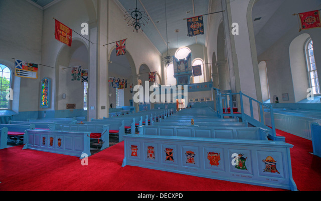 Canongate Kirk Church Edinburgh Royal Mile, Scotland, UK Interior panorama looking to entrance - Stock Image