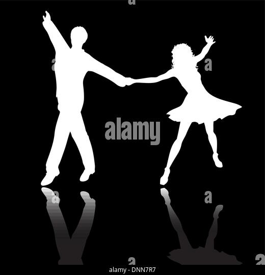 Silhouettes of people dancing - Stock Image