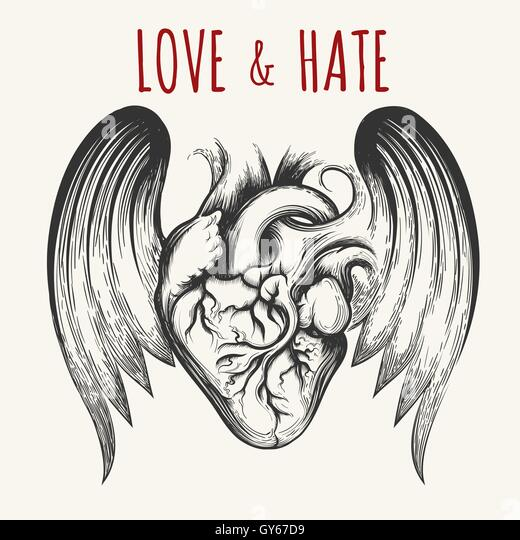 Love hate tattoo stock photos love hate tattoo stock for Love n hate tattoo
