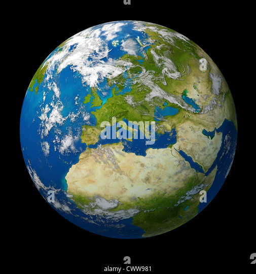 Planet Earth featuring Europe and European union countries including France Germany Italy and England surrounded - Stock Image