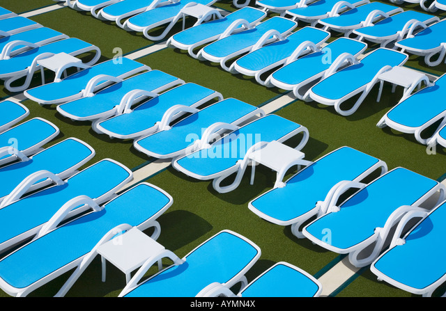Sun loungers on deck of a Cruise Ship - Stock-Bilder