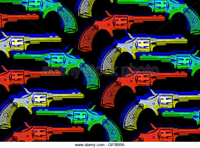 Revolver wild west hand gun retro repeat vintage illustration - Stock Image